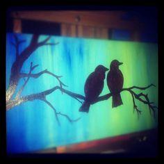 acrylic painting of bird silhouettes