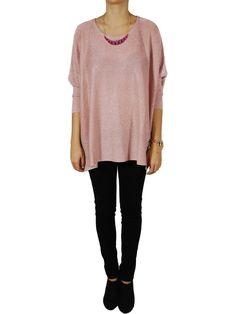 Pull rose à paillettes femme. http://milena-moda.com/