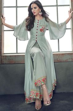 Bollywood Black and Grey color Salwar Kameez in Milan Silk fabric with . - - Bollywood Black and Grey color Salwar Kameez in Milan Silk fabric with Palazzo, Slits Embroidered, Resham, Stone, Thread work Source by Party Wear Indian Dresses, Designer Party Wear Dresses, Indian Gowns Dresses, Indian Fashion Dresses, Kurti Designs Party Wear, Dress Indian Style, Indian Designer Outfits, Pakistani Dresses, Party Dress
