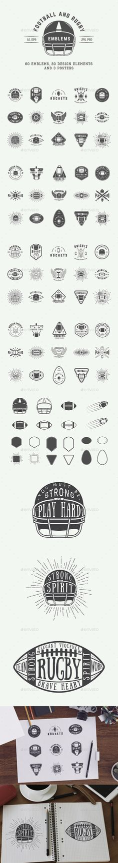American Football and Rugby Emblems Templates PSD, Vector EPS, AI Illustrator