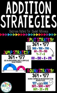 Great strategies to get your students thinking about addition beyond the procedural way. Allow students to explore the jump, split and round strategy for addition.