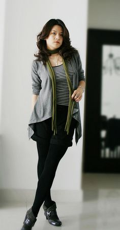 gray cardi-jacket + black leggings/skinny jeans + striped top + a little colored scarf = perfection by Sandyrose, via Flickr