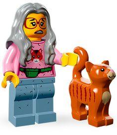 "Mrs. Scratchen-Post ""Here kitty, kitty, kitty, kitty, kitty…"" Da Cat Lady from da Lego Movie minifigures."