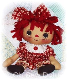 * Click +more on the left below to expand the full details. Raggedy Rosie (SEWING PATTERN) about 16 inches Her hair is made from torn fabric strips and her clothes are raggedy. (no Hems) *******IMPORTANT******* This is an PDF Sewing Pattern that you download and print yourself. *******I
