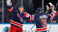Carl Hagelin and Mats Zuccarello of the New York Rangers