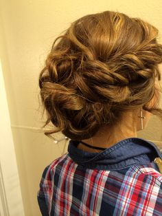 Easy updo! - part hair half up & half down clip up the top. Make a small bun with the bottom half and secure with bobby pins.take out the clip, Curl the ends of the top half and pin around the bun loosely to create a messy effect. Curl the ends away from the face and twist back bangs and secure with bobby pins & finished ! (: