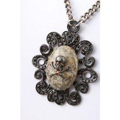 Rocker Jewelry Leopard Jasper Metal Skull pendant Large Unisex pendant Chain Length: 16 Inch