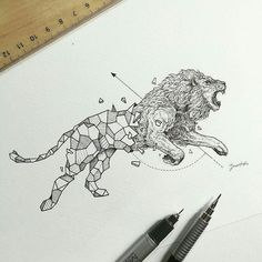 #Repost from @art_motive -  Geometric Beast! By @kerbyrosanes #artistinspired #theartisthemotive . by worldofpencils