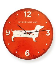 Love this Dachshund Round Clock on #zulily! #zulilyfinds