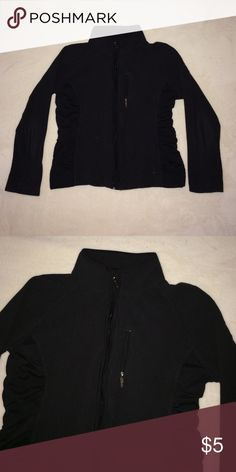 Black Fleece Zip Up Fleece zip up, gently used. Vertical pocket on the left breast. The sides are made of a windbreaker material. Danskin Jackets & Coats