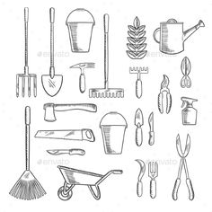 Buy Gardening Tools Sketches for Farming Design by VectorTradition on GraphicRiver. Watering can and plant with gardening hand tools sketches of rakes, shovel, axe and saw, spading fork, wheelbarrow an. Garden Drawing, Plant Drawing, Drawing Flowers, Drawing Drawing, Drawing Ideas, Garden Tool Storage, Garden Tools, Bucket Drawing, Electrical Hand Tools