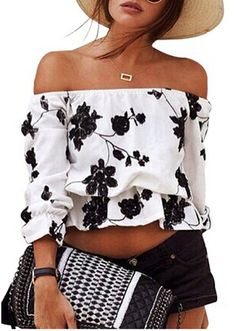 Relipop Women's 3/4 Sleeve Floral Crop Top Strapless Blouses Off Shoulder Tops at Amazon Women's Clothing store: