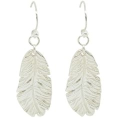 Essentia By Love Lily Rose - Feather Drop Earrings Silver ($105) ❤ liked on Polyvore featuring jewelry, earrings, feather charm, drop earrings, silver hook earrings, white drop earrings and rose charm