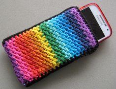Krea d Un. Crochet Phone Cover, Crochet Case, Free Crochet, Cell Phone Pouch, Phone Cases, Crochet Designs, Crochet Patterns, Crochet Collar Pattern, Crochet Mobile