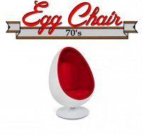 Détails Fauteuil pivotant Oeuf, Egg chair coque blanche / intérieur velours rouge Design 70