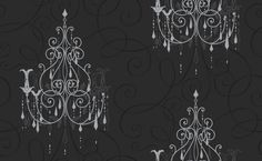 Chandelier (M0238) - Vymura Wallpapers - Drawn in metallic silver on a soft feel black textured curlicue covered background, chandeliers dripping with silver glitter jewels, a breathtaking design.