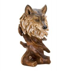 Wolf Bust Carved Woods Nature Wild Animal Sculpture Statue Figurine Home Decor