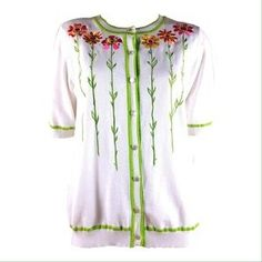 BOB MACKIE WEARABLE ART FLORAL SWEATER / HOST PICK. Check it out! Price: $19 Size: M