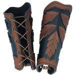 Elven Leaf Arm Bracers  Item # MCI-2169    These very unique bracers blend in perfectly with the forest, whether you are Robin Hood or a High Elven Warrior. They feature five stitched leaves that are either riveted on or sewn onto the bracer, a great woodsman or outdoors look.