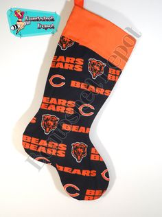 Chicago Bears Football Fully Lined Christmas Stocking by BombshellDepot on Etsy