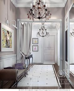 Интерьер элегантной серой прихожей в квартире  http://www.ok-interiordesign.ru/blog/classical-hall-interior-2.html