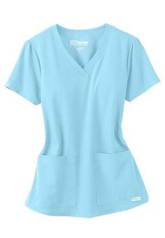 Grey's Anatomy v-neck 2-pocket scrub top in Sky Blue | Scrubs and Beyond