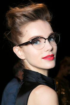 Makeup With Glasses: 8 Mistakes to Avoid | StyleCaster (Mostly I just love that icy blue shadow under her eyes!)