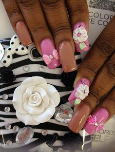 3d #pink #bows #long #flower