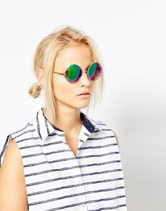 Image 3 of ASOS Round Sunglasses With Cut Away Lens Detail And Flash Lens