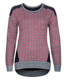 Another great find on #zulily! Red & Black Diamond Sweater by Dex #zulilyfinds
