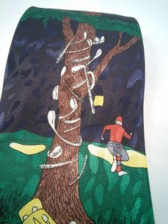 Men's Golfers Tie Made by Renaissance Hand Made Classic Style Blue Pic of Tree #Renaissance #NeckTie