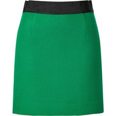 MILLY Wool Pencil Mini Skirt in Emerald found on Polyvore