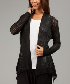 Take a look at the Black Knit Sidetail Open Cardigan on #zulily today!