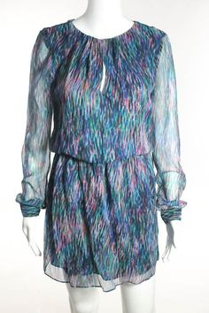 RORY BECA Multicolor Silk Printed Long Sleeve Pleated Blouson Dress Sz S #RORYBECA #Blouson #Casual