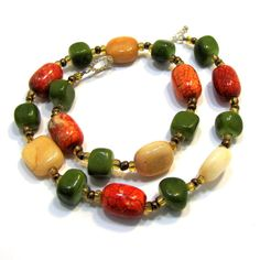 Olive Green, Orange, and Yellow Natural Stone by JewelryByJolanta, $25.00