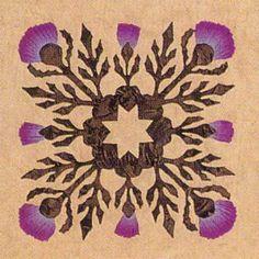 Thistle: gorgeous purple tones in this unique art piece. Celtic Quilt, Applique Patterns, Applique Quilts, Quilt Patterns, Scottish Flowers, Scottish Thistle, Wool Quilts, Barn Quilts, Quilting Projects