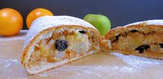 Apple strudel recipe with home made pastry. This is a slightly cheated apple strudel recipe, as the pastry is not stretched very thin, but it& better than shop-bought filo or puff pastry. Strudel Recipes, Apple Strudel, Just Cakes, Sweet Tea, Cinnamon Apples, Tray Bakes, Bakery, Cooking Recipes, Homemade