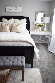 Dark bedroom furniture - Turn Back the Clocks in Your Own Slumber Sanctuary Black Bedroom Furniture, Home Decor Bedroom, Decor Room, Couple Bedroom, Girls Bedroom, Bedroom Ideas For Couples, New Room, Home Decor Accessories, Cheap Home Decor