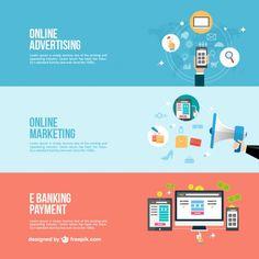 Banners de negócios online Vetor grátis
