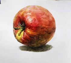 Diy Home Crafts, Apple, Watercolor, Fruit, Drawings, Sketch, Beautiful, Vegetables, Wine Cellars