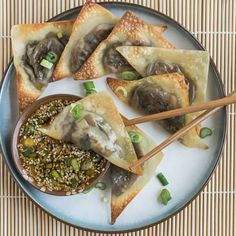 Baked Ginger-Mushroom Wontons with Sesame Dipping Sauce Recipe.   Substitution Option: Replace mirin with sake. Strict Vegan Friendly Option: Replace honey with maple syrup ; ) -smk