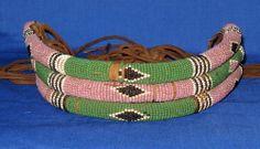 1 HOUR AUCTION - Antique Unusual African Tribal Art Zulu ? Beadwork Choker Neck Collar Necklace