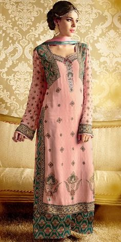 Marvelous Pink Georgette Straight Salwar Suit With Plazzo Pant And Chiffon Dupatta.