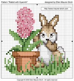 "Free cress stitch pattern ""Rabbit with Hyacinth"" Finished project photo, colored graph, black graph. and directions with key."