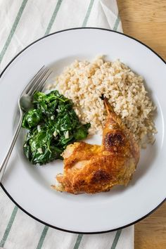 Recipe: Crispy Chicken Thighs with Garlicky Spinach