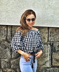 #gingham #top #baby blue #jeans #spring # What I Wore, Everyday Fashion, Baby Blue, Gingham, Blue Jeans, Gucci, Neckline, Sunglasses, My Style