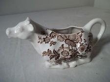 VINTAGE COW CREAMER PITCHER Charlotte Royal Crownford Ironstone Brown Flowers
