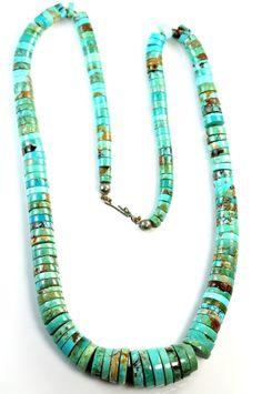 Vintage Pueblo Santo Domingo Indian Turquoise Disk Bead Turquoise Necklace