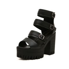 SheIn(sheinside) Black Buckle Strap High Heeled Sandals (34 CAD) ❤ liked on Polyvore