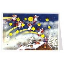 Angels on Shooting Stars Advent Calendar Card ~ Germany